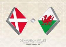 Denemarken versus Wales, Liga B, Groep 4 De de voetbalconcurrentie van Europa Stock Illustratie