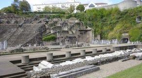 Denera teatern på den Fourviere kullen i Lyon Arkivfoto