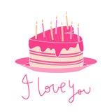 denformade kakan med rosa isläggning, stearinljus och jag älskar dig text Royaltyfria Bilder