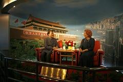 Deng Xioping die Britse Primie-Minister Margaret Thatcher ontmoeten royalty-vrije stock fotografie
