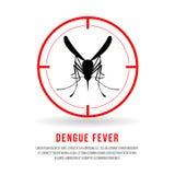 Dengi febra z frontowymi komarami podpisuje wewnątrz czerwonej okrąg ostrości wektorowego projekt Obraz Stock