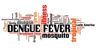 Dengue. Fever - tropical virus disease. Travel health word cloud Royalty Free Stock Photos