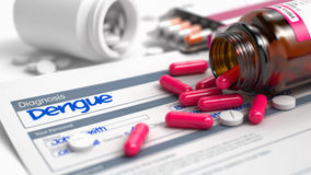 Dengue - Phrase in History of the Present Illness. 3D. Dengue - Handwritten Diagnosis in the Disease Extract. Medicine Concept with Heap of Pills, CloseUp View Stock Photo