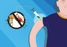 Dengue Vaccine formulated for protection. Editable Clip Art. Royalty Free Stock Image