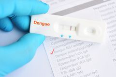 Dengue virus positive test result. By using rapid test cassette royalty free stock photos