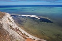 Denham Lookout aerial view. Denham Lookout which is on the Peron Peninsula of Western Australia stock images