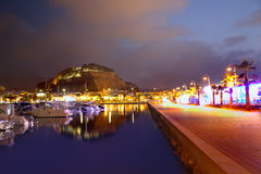 Denia口岸日落在小游艇船坞在阿利坎特西班牙 免版税库存照片