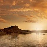 Denia口岸日落在小游艇船坞在阿利坎特西班牙 图库摄影