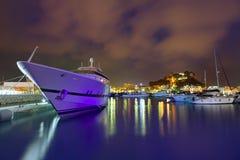 Denia口岸日落在小游艇船坞在阿利坎特西班牙 库存图片