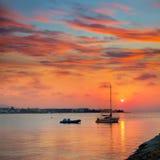 Denia海滩日落地中海阿利坎特西班牙 免版税库存照片