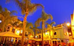 Denia老村庄日落黄昏在阿利坎特西班牙 图库摄影