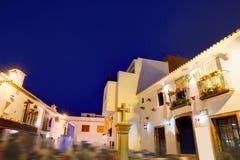 Denia老村庄日落黄昏在阿利坎特西班牙 库存照片