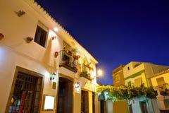 Denia老村庄日落黄昏在阿利坎特西班牙 免版税库存照片