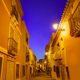 Denia老村庄日落黄昏在阿利坎特西班牙 免版税库存图片