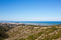 Denia in Alicante aerial view Valencian Community of spain Royalty Free Stock Photos