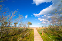 Denia Alicante beach with blue summer sky in Spain Stock Images