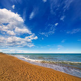 Denia Alicante beach with blue summer sky in Spain Royalty Free Stock Image
