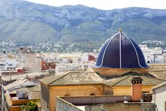 Denia alicante from castle church dome belfry Royalty Free Stock Photography
