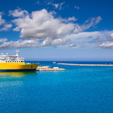 Denia Alicante cruise Ferry boat in Port in sunny day Stock Photography