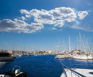 Denia Alicante marina boats in blue Mediterranean Royalty Free Stock Photos