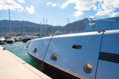 Denia alicante marina with luxury yachts and Mongo Stock Images