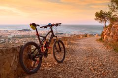 Denia Alicante from Montgo with MTB stock photography