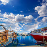 Denia Alicante port with blue summer sky in Spain Stock Images