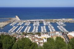 Denia Alicante Spain high view marina Royalty Free Stock Photos