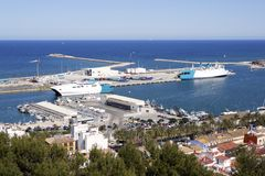 Denia Alicante Spain high view marina Stock Photo