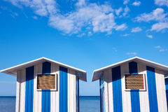 Denia beach blue and white stripes in Spain Stock Photo