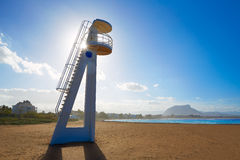 Denia beach Las Marinas baywatch tower Alicante Stock Photos