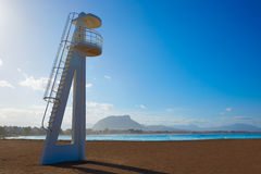Denia beach Las Marinas baywatch tower Alicante Royalty Free Stock Photography