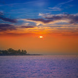 Denia beach sunset Mediterranean Alicante Spain Stock Photography