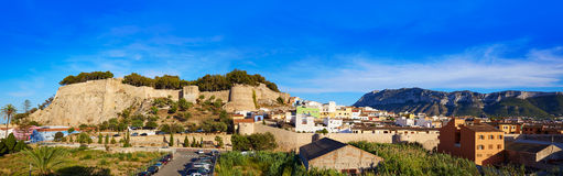 Denia castle and village panoramic view Alicante Stock Photography