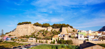 Denia castle and village panoramic view Alicante Stock Images