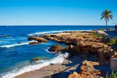 Denia Las花名册Rotes海滩在地中海的阿利坎特 库存图片