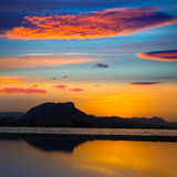 Denia Las Marinas sunset beach Punta Molins Spain Royalty Free Stock Photo
