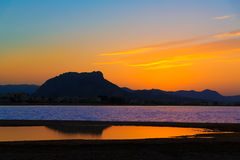 Denia Las Marinas sunset beach Punta Molins Spain Royalty Free Stock Images