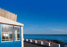 Denia Las Rotas blue house in Mediterranean sea Royalty Free Stock Photo