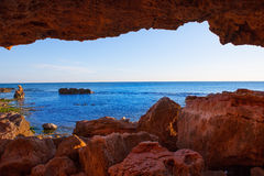 Denia Las Rotas from the caves and Mediterranean sea Royalty Free Stock Images