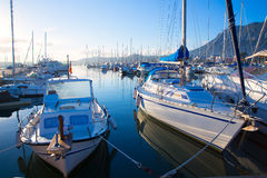 Denia marina boats in alicante Valencia Province Spain Royalty Free Stock Photos