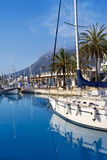 Denia marina port boats and Mongo Stock Image