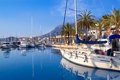 Denia marina port boats and Mongo Stock Photo