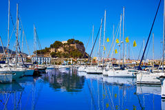 Denia marina Port and Castle in Alicante at Spain Royalty Free Stock Images