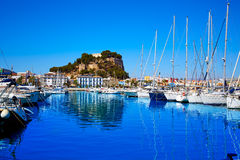 Denia marina Port and Castle in Alicante at Spain Stock Photos