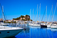Denia marina Port and Castle in Alicante at Spain Royalty Free Stock Photo