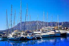 Denia marina Port and Montgo in Alicante at Spain Stock Photography