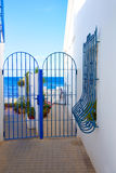 Denia Mediterranean blue houses in Las Rotas Royalty Free Stock Photo