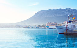 Denia mediterranean port village with Mongo Stock Photo