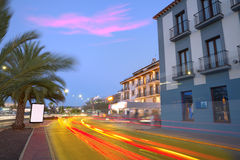 Denia old village sunset dusk in Alicante Spain Stock Image